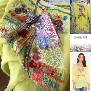Johnny Was embroidered tunic lemon floral top